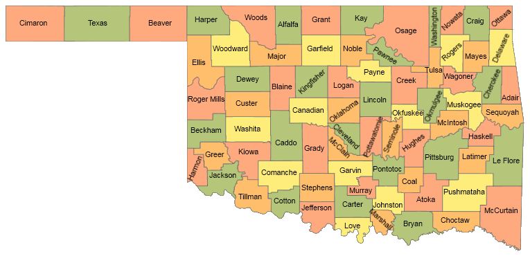 Oklahoma State Map with County Boundaries